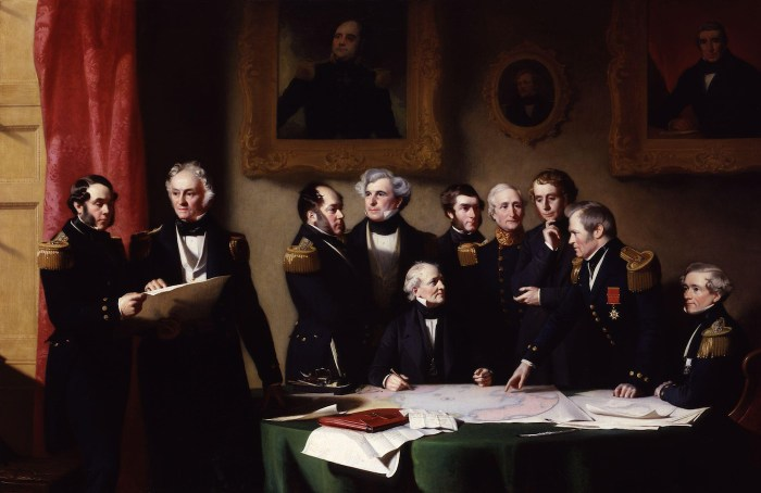 "Stephen Pearce, ""The Arctic Council planning a search for Sir John Franklin"" (1851) (via National Portrait Gallery/Wikimedia)"