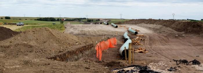 The Dakota Access Pipeline under construction in July, as seen in South Dakota (photo by Lars Plougmann/Flickr)