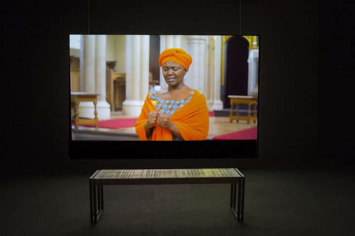 "Larry Achiampong, ""Sunday's Best"" (2016), single-channel video, 15:47min, installation view at the Logan Center Gallery, Reva and David Logan Center for the Arts, University of Chicago"