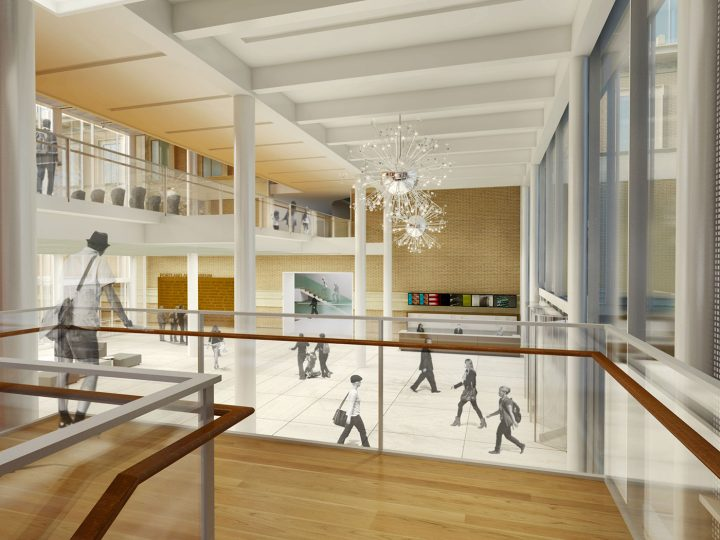 View of the community commons from the new stair (image courtesy Vinci Hamp Architects)
