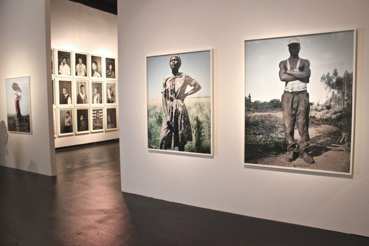 Two installations of portrait photography at the National Underground Railroad Freedom Center: Jackie Nickerson's August (foreground) and Zanele Muholi's Personae (background)