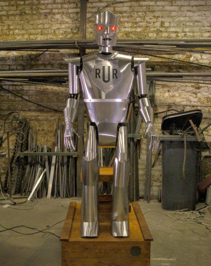 Replica of Eric the robot in the workshop of artist Giles Walker (courtesy Science Museum)