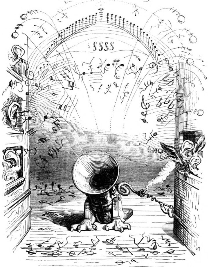A steam-powered Ophicleide in 'Eine Andere Welt von Plinius dem Jüngsten illustriert von J. J. Grandville' by Jean Ignace Isidore Gérard (via Wikimedia)