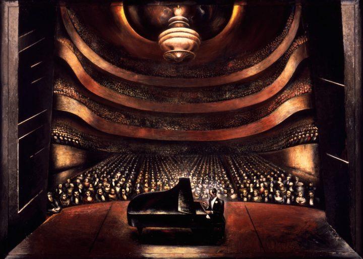 "David Alfaro Siqueiros, ""George Gershwin in a Concert Hall"" (1936), oil on canvas, Harry Ransom Center, the University of Texas at Austin (© VEGAP, Madrid, 2016)"