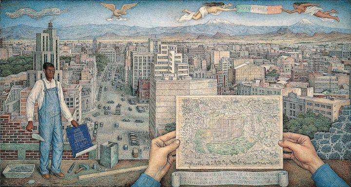 """Juan O'Gorman, """"Mexico City"""" (1949), Acervo CONACULTA — INBA, Museo de Arte Moderno (© Juan O'Gorman / Artists Rights Society, ARS, New York / SOMAAP, Mexico City)"""