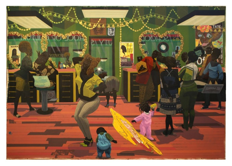 Kerry James Marshall. American, born Birmingham, Alabama 1955 School of Beauty, School of Culture 2012 Acrylic and glitter on canvas 8 ft. 11 7/8 in. × 13 ft. 1 7/8 in. (Photo by Sean Pathasema)