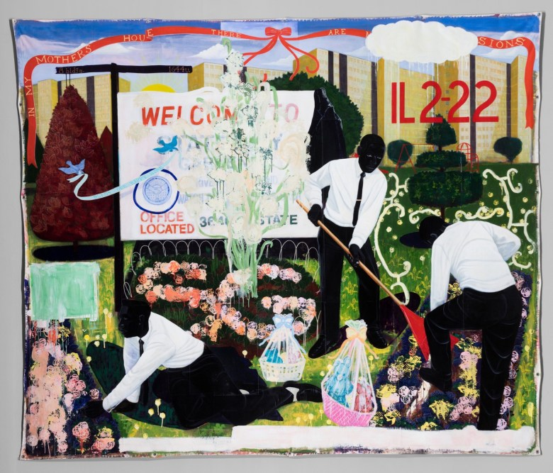 "Kerry James Marshall, ""Many Mansions"" (1994) Acrylic and collage on canvas 9 ft. 6 in. × 11 ft. 3 in. (Photo © The Art Institute of Chicago)"