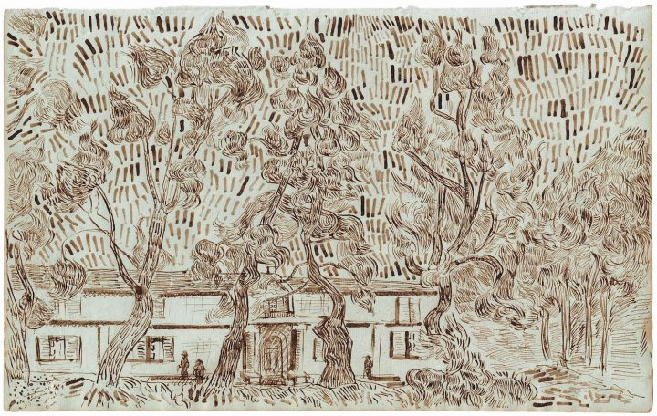 """Pine Trees in the Asylum Garden at Saint-Rémy II"" (October 1889), one of 65 drawings attributed to Vincent van Gogh and published in the forthcoming title, Vincent van Gogh: The Lost Arles Sketchbook"