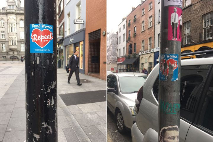 "A sticker variation of Maser's mural, with the words ""trust women"" added, can be seen all over Dublin. So can intentional destruction of it. (photos by the author for Hyperallergic)"