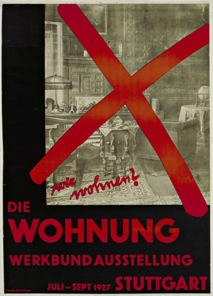 """Willi Baumeister. wie wohnen? Die Wohnung"" (""How Should We Live? The Dwelling""), poster for an exhibition organized by the Deutsche Werkbund at the Weissenhofsiedlung, Stuttgart, Germany (1927), lithograph (courtesy the Museum of Modern Art, gift of Philip Johnson)"