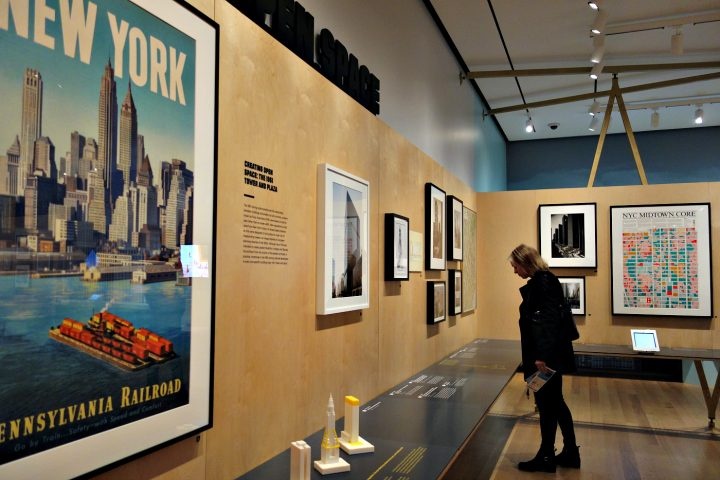 Installation view of Mastering the Metropolis New York and Zoning, 1916-2016 at the Museum of the City of New York (photo by the author for Hyperallergic)