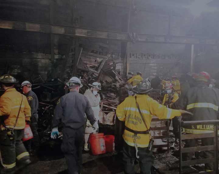 Firefighters inside the ruins of the Ghost Ship warehouse (photo courtesy Oakland Police Department)
