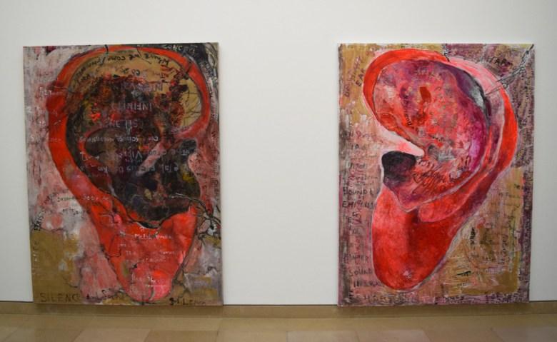 "Anna Boghiguian, ""The Physical Ear"" (2011, left) and ""The Metaphysical Ear"" (2011, right), both mixed media on canvas"