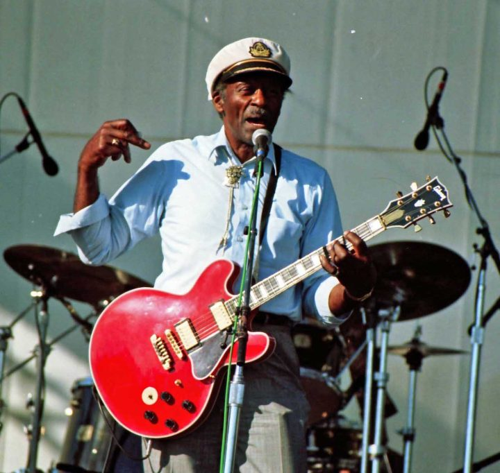 Chuck Berry performing at the Long Beach Blues Festival in 1997 (photo by Masahiro Sumori, via Wikimedia Commons)