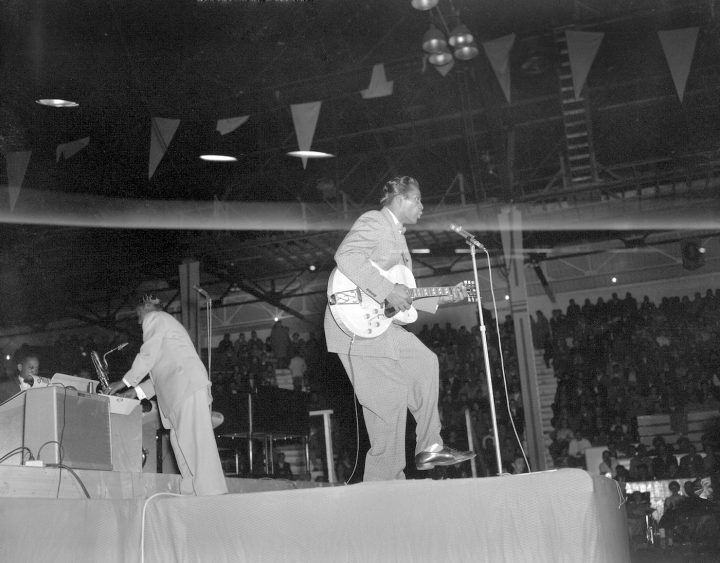 "Chuck Berry performing at the ""Biggest Show of Stars For '57"" concert in Edmonton, Alberta (Richard G. Proctor Photography Limited fonds, Provincial Archives of Alberta, via Wikimedia Commons)"