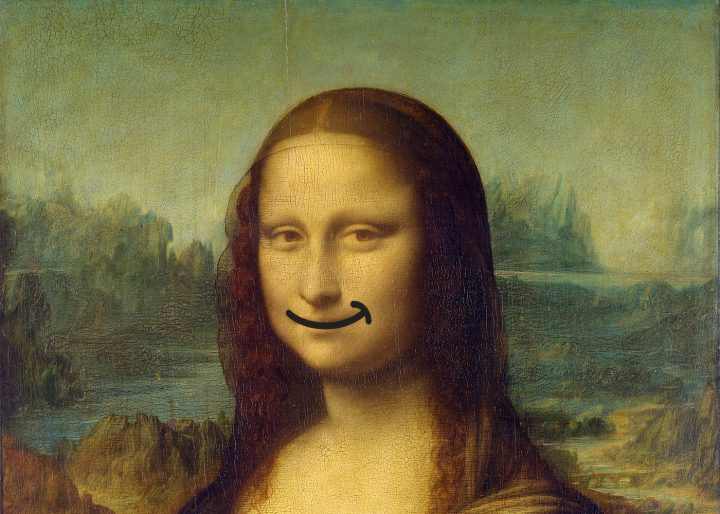 The Mona Lisa, as she has always appeared — happy! (illustration by the author for Hyperallergic)