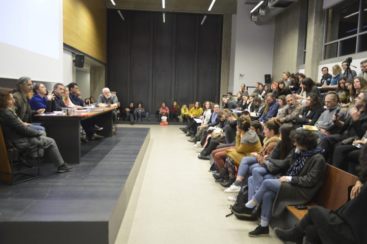 """Learning from Documenta"" round table on March 9, 2017, ""The Politics of Art Making,"" at the Athens School of Fine Arts; participants (from left to right): N. Pappa, P. Charalambous, N.G. Khan-Dossos, A. Lampropoulos, and E. Rikou (coordinators), R. Lowe, A. Omrani, T. Tramboulis (photo by George Sakkas)"