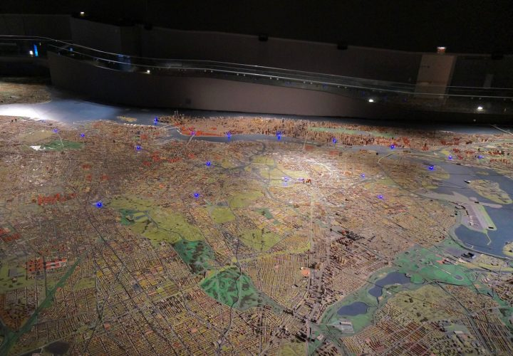 The Queens Museum's Panorama of the City of New York seen during the recent Mierle Laderman Ukeles retrospective (photo by Jillian Steinhauer/Hyperallergic)