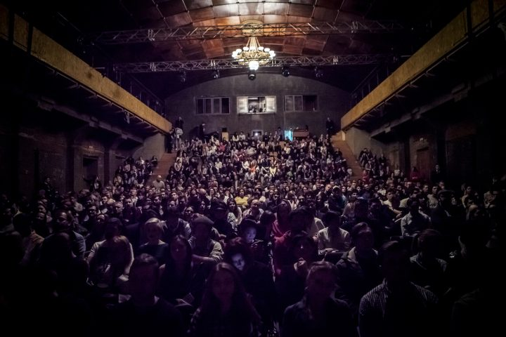 Theater-goers inside the main performance space at the Gogol Center in Moscow (courtesy the Gogol Center)