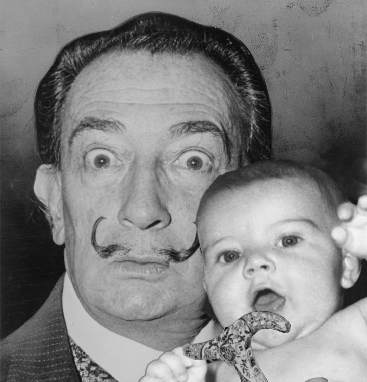 Salvador Dalí with a baby (illustration by the author, Wikimedia source images here and here)