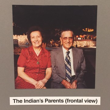 """Detail of Jimmie Durham, """"The Indian's Family"""" (1985) (photo by the author for Hyperallergic)"""