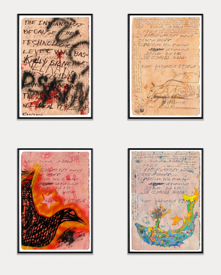 """Jimmie Durham, """"Zeke Proctor's Letter"""" (1989), acrylic paint, ink, and enamel spray paint on paper, 32 1/8 x 22 in each, Hammer Museum, Los Angeles (photo courtesy kurimanzutto, Mexico City)"""