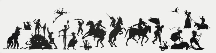 """Kara Walker, """"The Jubilant Martyrs of Obsolescence and Ruin"""" (2015), cut paper on wall, 165 3/8 x 698 13/16 in (courtesy The High Museum of Art, Atlanta)"""