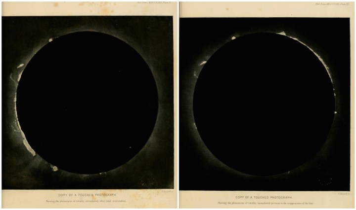 Two photographs by Warren De la Rue of the July 18, 1860 total solar eclipse, observed at Rivabellosa, Spain (via Wellesley College Library/Internet Archive)