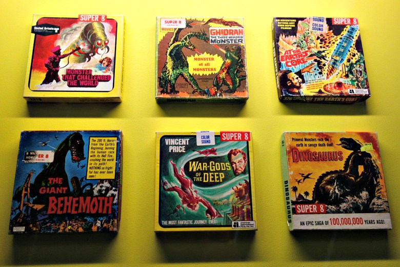 8mm film reel boxes (1949-67) (photo by the author for Hyperallergic)