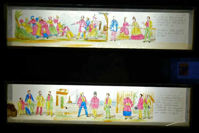 Glass plates for magic lantern depicting scenes from Jules Verne's <em srcset=