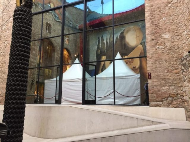 In the atrium of the Salvador Dalí Theatre-Museum, awnings were erected to prevent the public from seeing Dalí's body being exhumed from his crypt. (photo courtesy the Fundació Gala-Salvador Dalí)