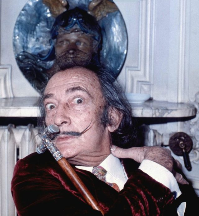 Salvador Dalí in 1972 (photo by Allan Warren, via Wikimedia Commons)