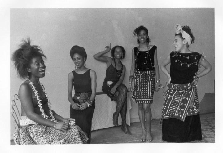 "Lorna Simpson, ""Rodeo Caldonia (Left to Right: Alva Rogers, Sandye Wilson, Candace Hamilton, Derin Young, Lisa Jones)"" (1986), photographic print, 8 x 10 in (courtesy of Lorna Simpson; © 1986 Lorna Simpson)"