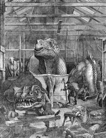 Benjamin Waterhouse Hawkins's studio in Sydenham, where the Crystal Palace dinosaurs were made (1853) (via Wikimedia)