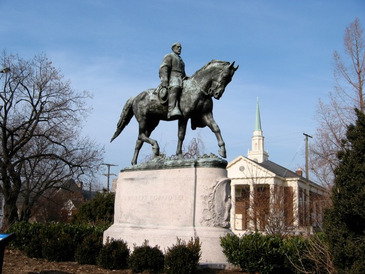 The statue of Robert E. Lee in Emancipation Park in Charlottesville, Virginia (photo by Cville dog, via Wikimedia Commons)