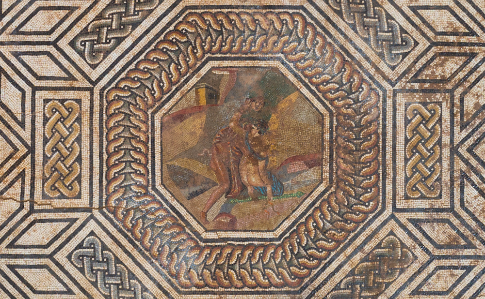Mosaic at the Roman site in Vienne with a central image of Pan abducting Thalia (photo courtesy Archeodunum)