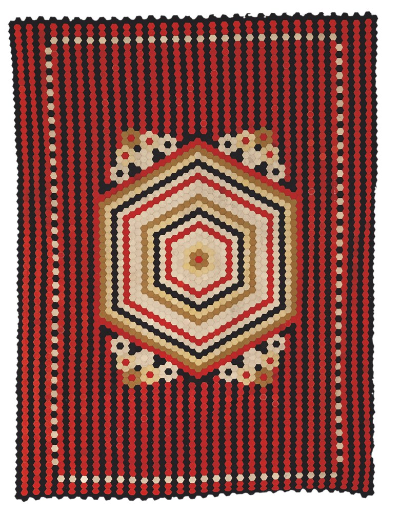 Artist unidentified, Soldier's Hexagon Quilt (Crimea or United Kingdom, late 19th century), wool from military uniforms, 85 x 64 inches (courtesy the Annette Gero Collection, photo by Tim Connolly, Shoot Studios)