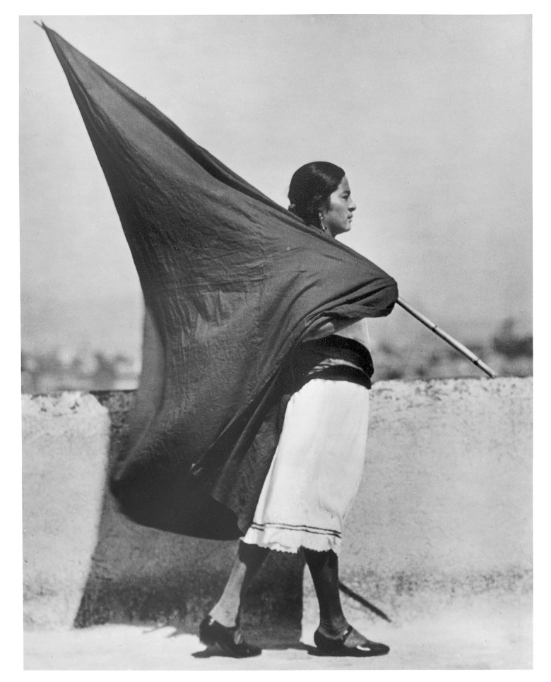 "Tina Modotti, ""Woman with Flag"" (1928) (courtesy La Fábrica)"