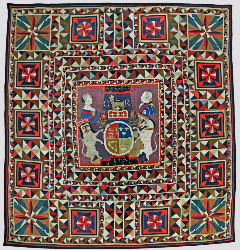 King George III Intarsia Quilt by an unidentified artist (United Kingdom or Germany, 1766), wool, possibly from military uniforms, with embroidery thread; intarsia; hand-appliquéd and hand-embroidered, 106 x 100 inches (Collection Sevenoaks Museum, Kent County Council, United Kingdom)
