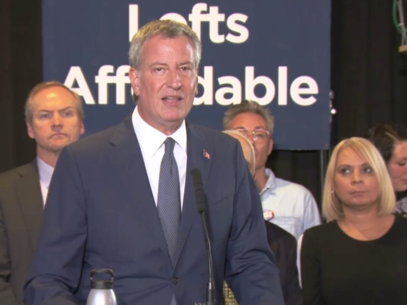 New York City Mayor Bill de Blasio during today's press conference announcing proposed revisions to the city's Loft Law (screenshot by the author via Periscope)