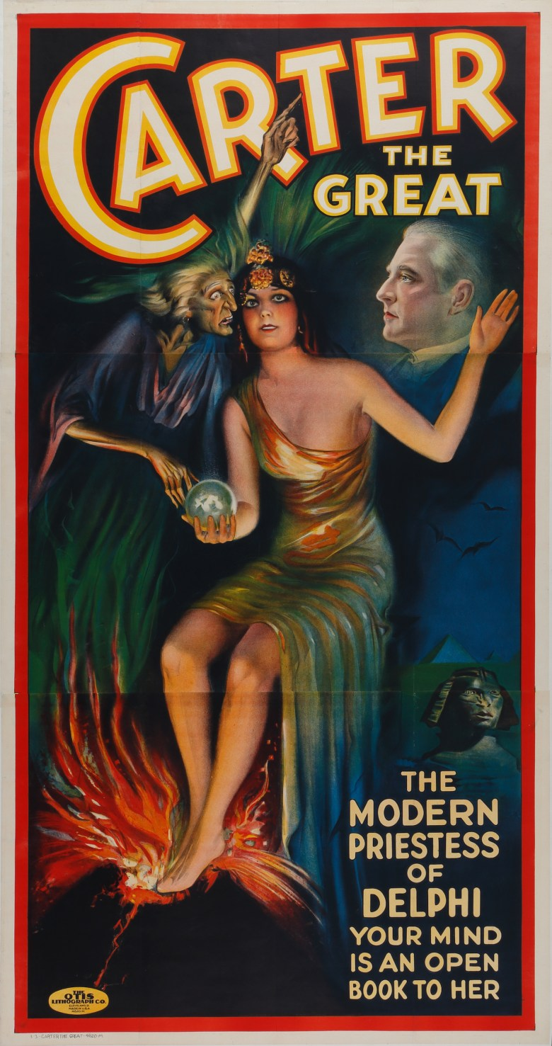 """""""Carter The Great - The Modern Priestess of Delphi"""" (The Otis Lithograph Co., 1926) (© McCord Museum)"""