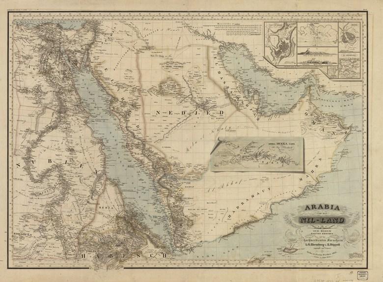 """Heinrich Karl Wilhelm Berghaus, """"Arabia und das Nil-Land"""" (1835) (courtesy Harvard Map Collection)"""