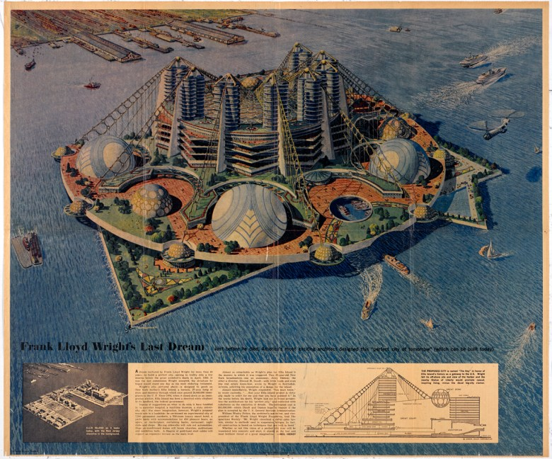 """Frank Lloyd Wright, """"Key Plan for Ellis Island"""" (1959), pencil and colored pencil on paper (courtesy the Frank Lloyd Wright Foundation Archives, the Museum of Modern Art, Avery Architectural & Fine Arts Library, Columbia University)"""