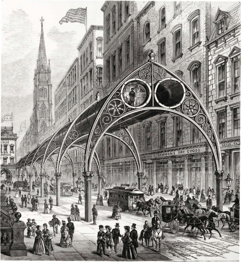 """Rufus Henry Gilbert, """"Elevated Railway"""" (1871), wood engraving (courtesy Library of Congress)"""