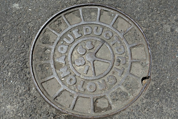 The Croton Aqueduct manhole cover formerly on Jersey Street in Manhattan (all photos by the author for Hyperallergic)