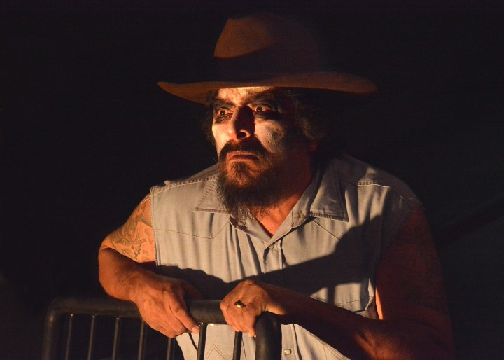 Paul Renteria as the ghost of El Sapo in An Enemy of the Pueblo at CASA 0101 in Boyle Heights (photo by Ed Krieger)