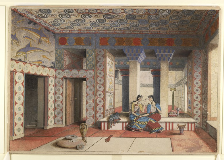"""Émile Gilliéron fils, """"Restored View of the Queen's Megaron"""" (1931), watercolor drawing mounted on card, after the Queen's Megaron, Knossos (courtesy Ashmolean Museum, University of Oxford: Evans Fresco Drawing, image © Ashmolean Museum, University of Oxford)"""
