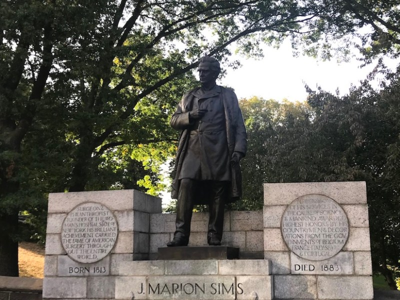 Statue of J. Marion Sims in Central Park (photo Benjamin Sutton/Hyperallergic)