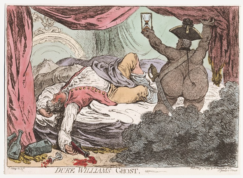 """James Gillray, """"Duke William's Ghost"""" (1799), hand-colored etching (courtesy the Lewis Walpole Library, Yale University)"""