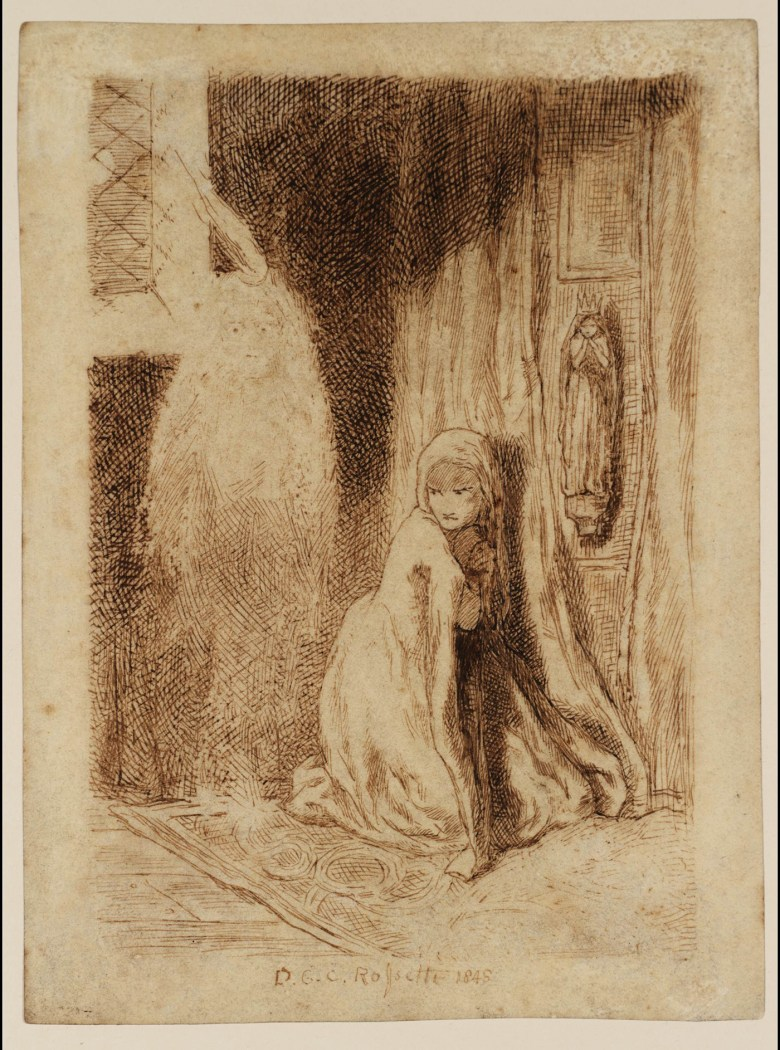 """Dante Gabriel Rossetti, """"Faust: Margaret in the Church"""" (1848), pen and ink (courtesy Tate)"""